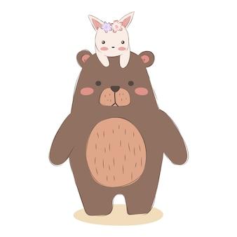 Urso de bebê e amizade de coelho