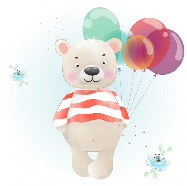 Urso de bebê é colorido com aquarela