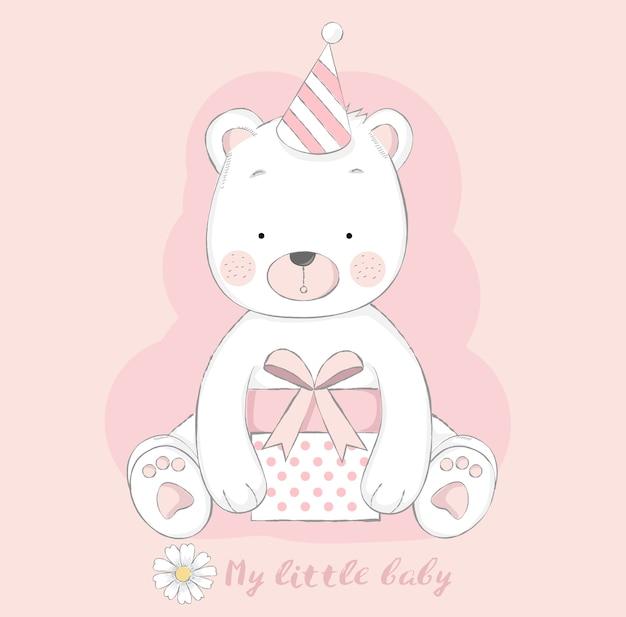 Urso de bebê fofo com estilo de mão desenhada de caixa de presente dos desenhos animados