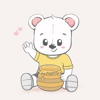 Urso de bebê fofo e mel pote cartoon mão desenhada