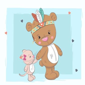 Urso de bebê fofo menina e cartoon gatinho desenhado