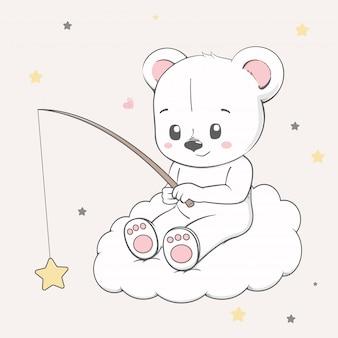 Urso de bebê fofo sente-se na nuvem e captura de estrelas