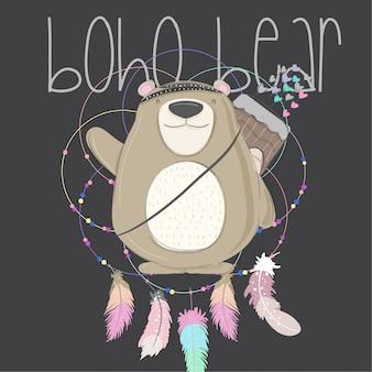 Urso de bebê fofo tribal garoto animal