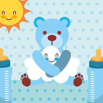 Urso de brinquedo azul abraços nuvem cartoon fundo pontilhado de garrafas