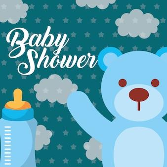 Urso de brinquedo azul e mamadeira cartão de chá de bebê