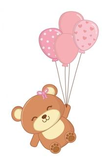 Urso de brinquedo com ilustração de balões