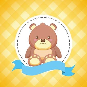 Urso de brinquedo para chá de bebê cartão