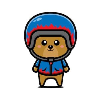 Urso de corrida bonito usando capacete e jaqueta ilustração dos desenhos animados