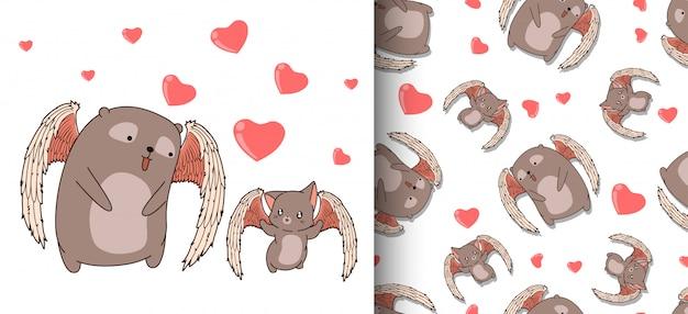 Urso de cupido adorável padrão sem emenda e personagens de gato cupido com corações