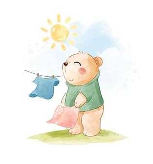 Urso de desenho animado abanando o pano no dia do pôr do sol