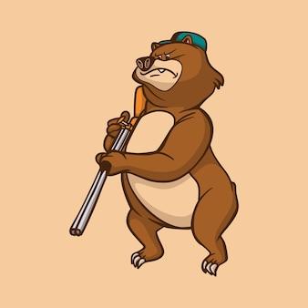 Urso de desenho animado carregando um rifle