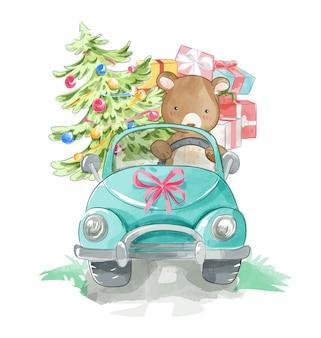 Urso de desenho animado, dirigindo um carro com caixas de presentes