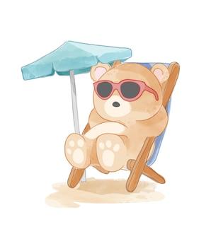 Urso de desenho animado em óculos de sol sentado na cadeira de praia.