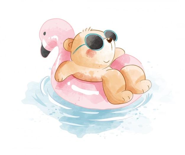 Urso de desenho animado na ilustração do anel de natação
