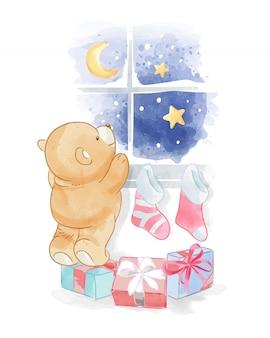 Urso de desenho animado, olhando para o céu noturno