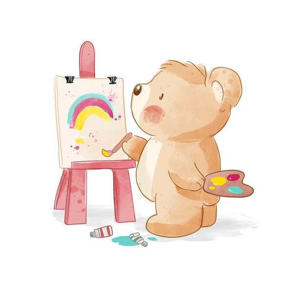 Urso de desenho animado pintando em uma ilustração de tela