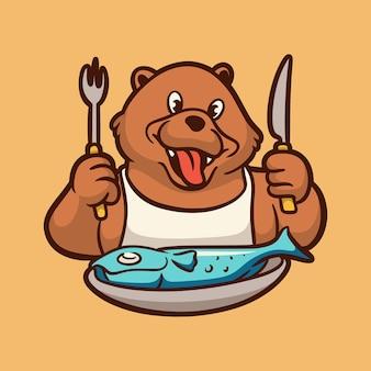 Urso de desenho animado se preparando para comer peixe logotipo bonito do mascote