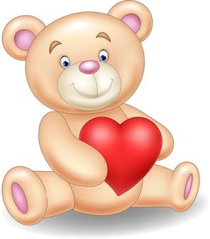Urso de desenho animado, segurando o coração