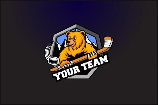 Urso de emblema de hóquei com logotipo de pau