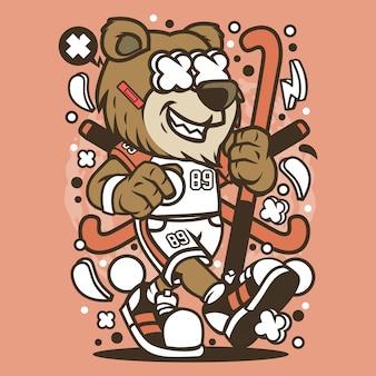 Urso de hóquei dos desenhos animados