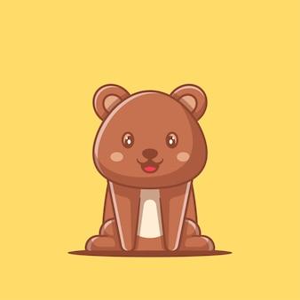 Urso de ilustrações bonitos dos desenhos animados. conceito do dia mundial dos animais