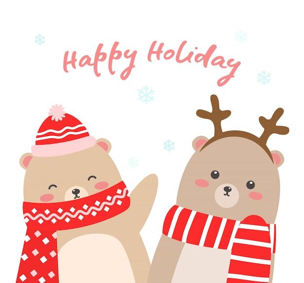 Urso de inverno bonito com lenço vermelho e chapéu