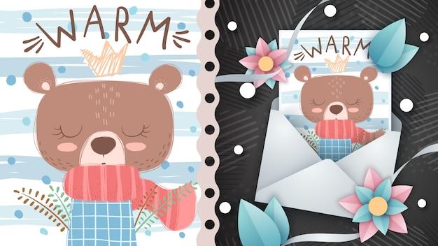 Urso de inverno - idéia para cartão