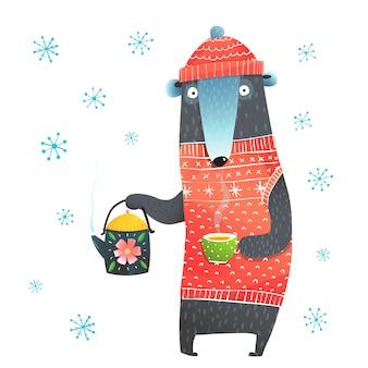 Urso de inverno segurando o bule de chá