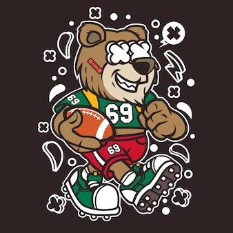 Urso de jogador de futebol dos desenhos animados