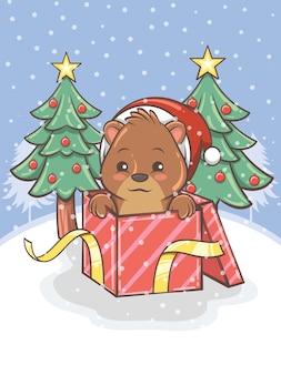 Urso de mel fofo com uma caixa de presente e uma árvore de natal - ilustração de personagem de desenho animado