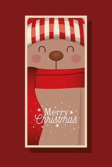 Urso de natal com lenço, chapéu e ilustração de letras de feliz natal