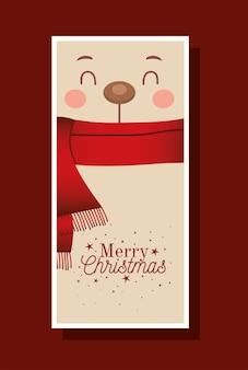Urso de natal com lenço e ilustração de letras de feliz natal