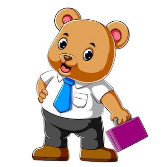 Urso de negócios dos desenhos animados segurando o terno