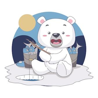Urso de neve pesca, quer comer peixe no festival de comida ilustração