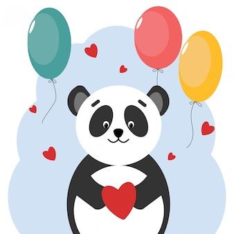 Urso de panda de cartão postal com balões em forma de coração