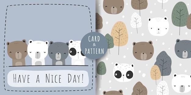 Urso de panda polar fofo urso dos desenhos animados doodle padrão sem emenda e pacote de cartão