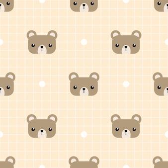 Urso de peluche bonito com teste padrão sem emenda da grade dos desenhos animados