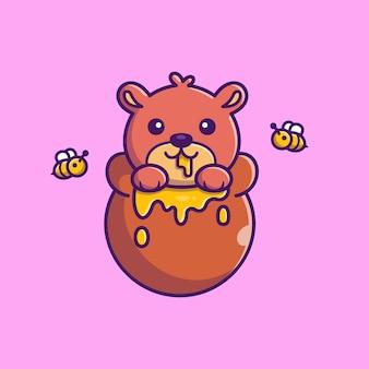 Urso de peluche bonito comer mel icon ilustração. personagem de desenho animado de mascote de urso. conceito de ícone animal isolado