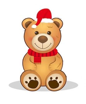 Urso de peluche bonito do natal animal dos desenhos animados.