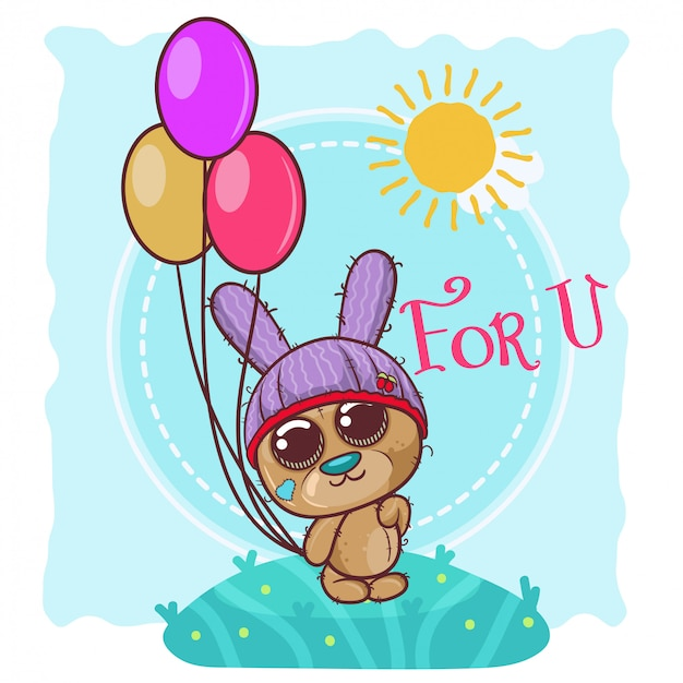 Urso de peluche bonito dos desenhos animados com balões - vetor