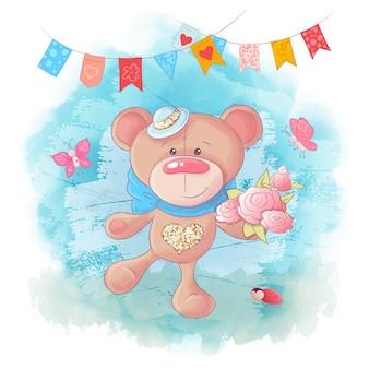 Urso de peluche bonito dos desenhos animados do vetor no fundo azul