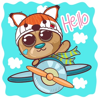 Urso de peluche bonito dos desenhos animados está voando em um avião - vetor