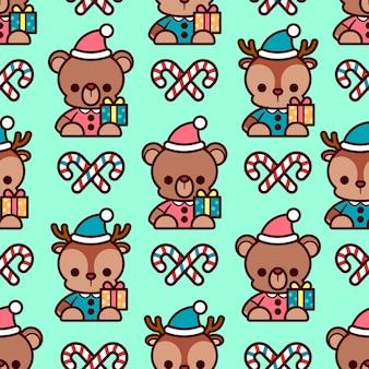 Urso de peluche bonito e boneca de rena com vara de natal sem emenda