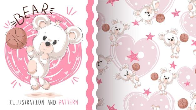 Urso de peluche bonito - teste padrão sem emenda
