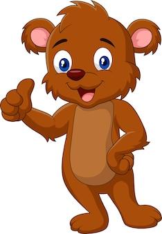 Urso de peluche dos desenhos animados que dá o polegar acima