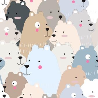 Urso de peluche engraçado bonito dos desenhos animados padrão sem emenda