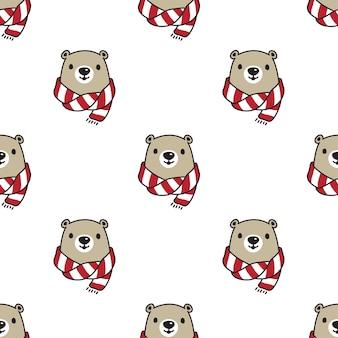 Urso de pelúcia cachecol polar sem costura padrão