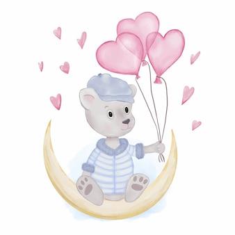 Urso de pelúcia com balões de coração