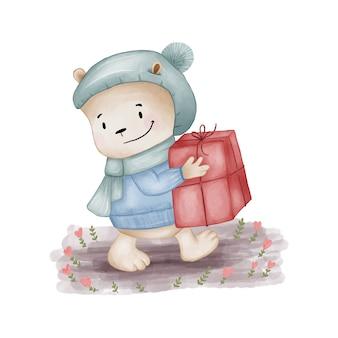 Urso de pelúcia com ilustração de presente