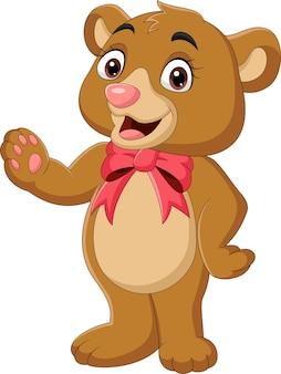 Urso de pelúcia com laço vermelho